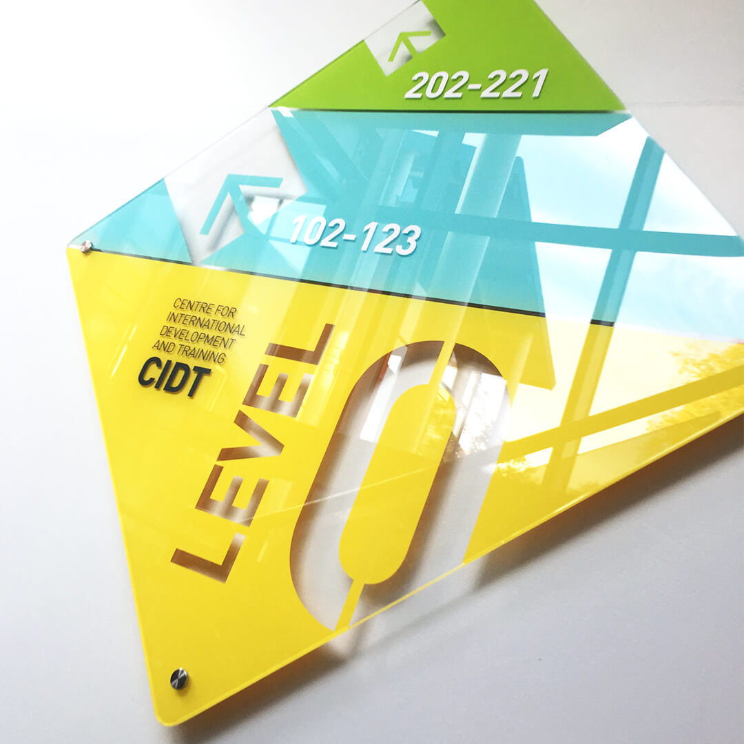 BTC acrylic directional signage